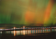Northern Lights over Mackinac Bridge