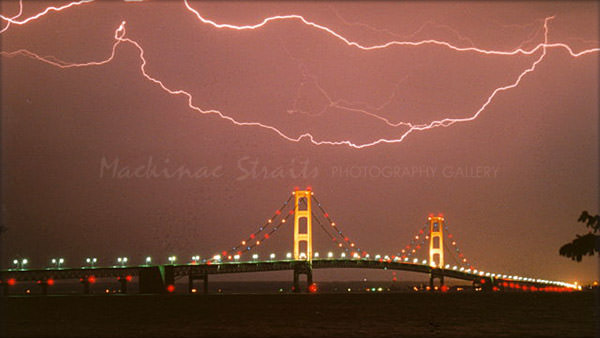 """Horizontal Lightning"" Mackinac Bridge"