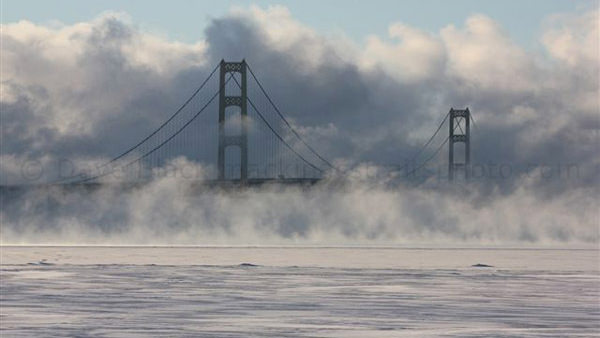 """Smoke on the Water"" at the Mackinac Bridge"