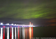 Green Aurora over Mackinac Bridge